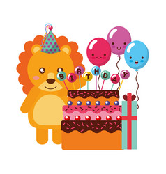 birthday lion cake and balloons gift vector image