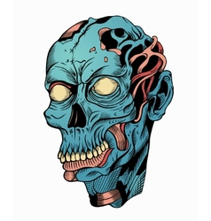 Blue zombie head vector