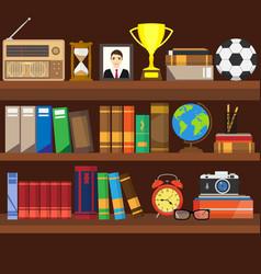 Book shelf bookstore indoor bookshelves vector