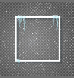 Border with realistic snow and icicles beautiful vector