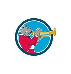 Bulldog Blowing Trumpet Side Circle Cartoon vector image