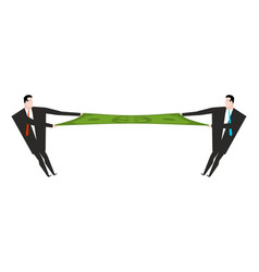 Businessman divide money two people share profits vector