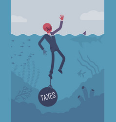 Businessman drowning chained with a weight taxes vector