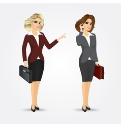 Businesswomen with briefcases vector