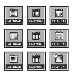 calendar icons and signs set in vector image