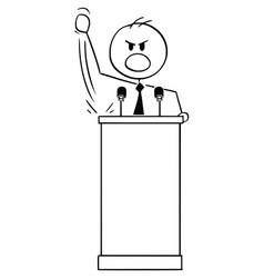 Cartoon aggressive man or politician speaking vector