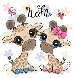 Cartoon giraffes on a flowers background vector