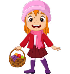 Cartoon little girl with basket fruits vector