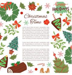christmas frame cartoon vector image