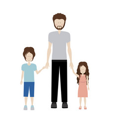 color silhouette with kids and dad with beard vector image