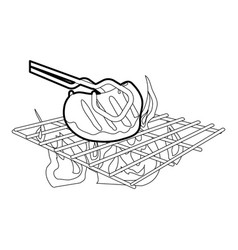 Cooking beef on barbecue icon outline vector