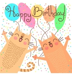 Cute happy birthday card with funny kittens vector