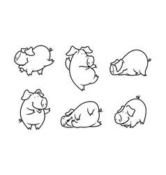 Cute pig set vector