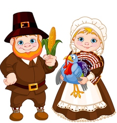 Cute Pilgrims Couple vector