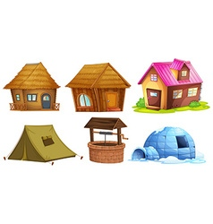 Different kinds of shelters vector