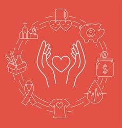 Donation circle banner vector