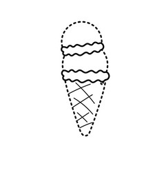 Dotted shape delicious ice cream sweet dessert vector