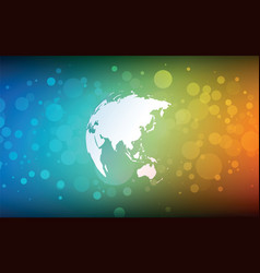 earth globe asia abstract bokeh color background vector image