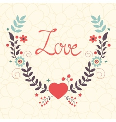 Elegant love card with floral wreath vector