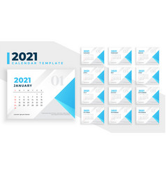 Elegant simple 2021 new year calendar template vector