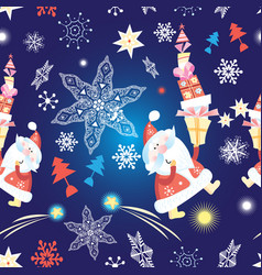 festive new year seamless pattern with santa claus vector image