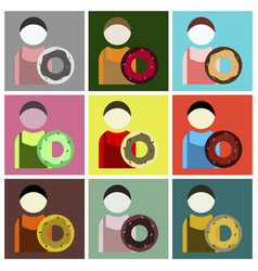 Flat icons set cook donut vector