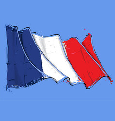 french artistic brush stroke waving flag vector image