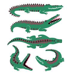 funny set crocodile icons vector image
