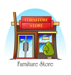 Furniture shop or store building for decor vector
