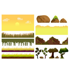 Game cartoon elements set with pieces of fantasy vector