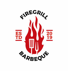 Grill fork spatula fire flame logo badges label vector