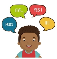 happy child talking design vector image