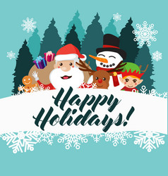 happy holidays greeting card poster vector image