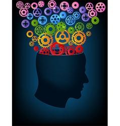 Head in gearsfullcolor vector image