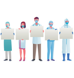 health care workers holding signs vector image