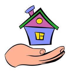 House in hand icon icon cartoon vector