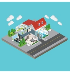 Isometric House Interior View vector image