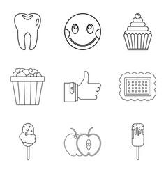 Joy of food icons set outline style vector