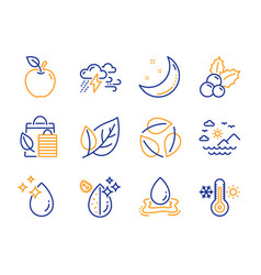 leaf bad weather and bio shopping icons set sea vector image