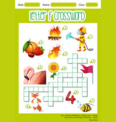 Letter f crossword worksheet vector