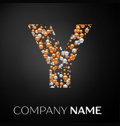 letter y logo gold-silver dots alphabet logotype vector image