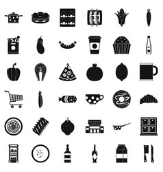 light breakfast icons set simple style vector image