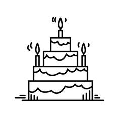 Line icons birthday cake party celebration vector