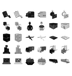 logistics and delivery blackmonochrome icons in vector image
