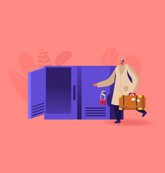 male character with suitcase bring luggage to vector image