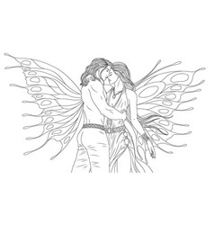 man and woman fairies kiss vector image