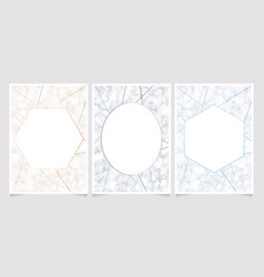 marble texture with geometric line frame card vector image