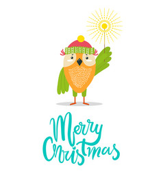 Merry christmas greeting card with owl winter hat vector