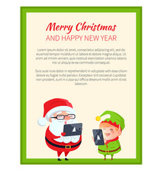Merry christmas happy new year elf and cute santa vector