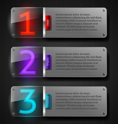 Metal banners with luminous numbers vector